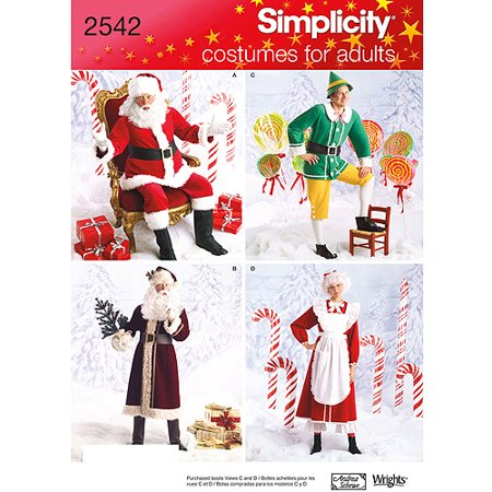 Simplicity Adult's Size XS-M Christmas Costumes Pattern, 1 Each