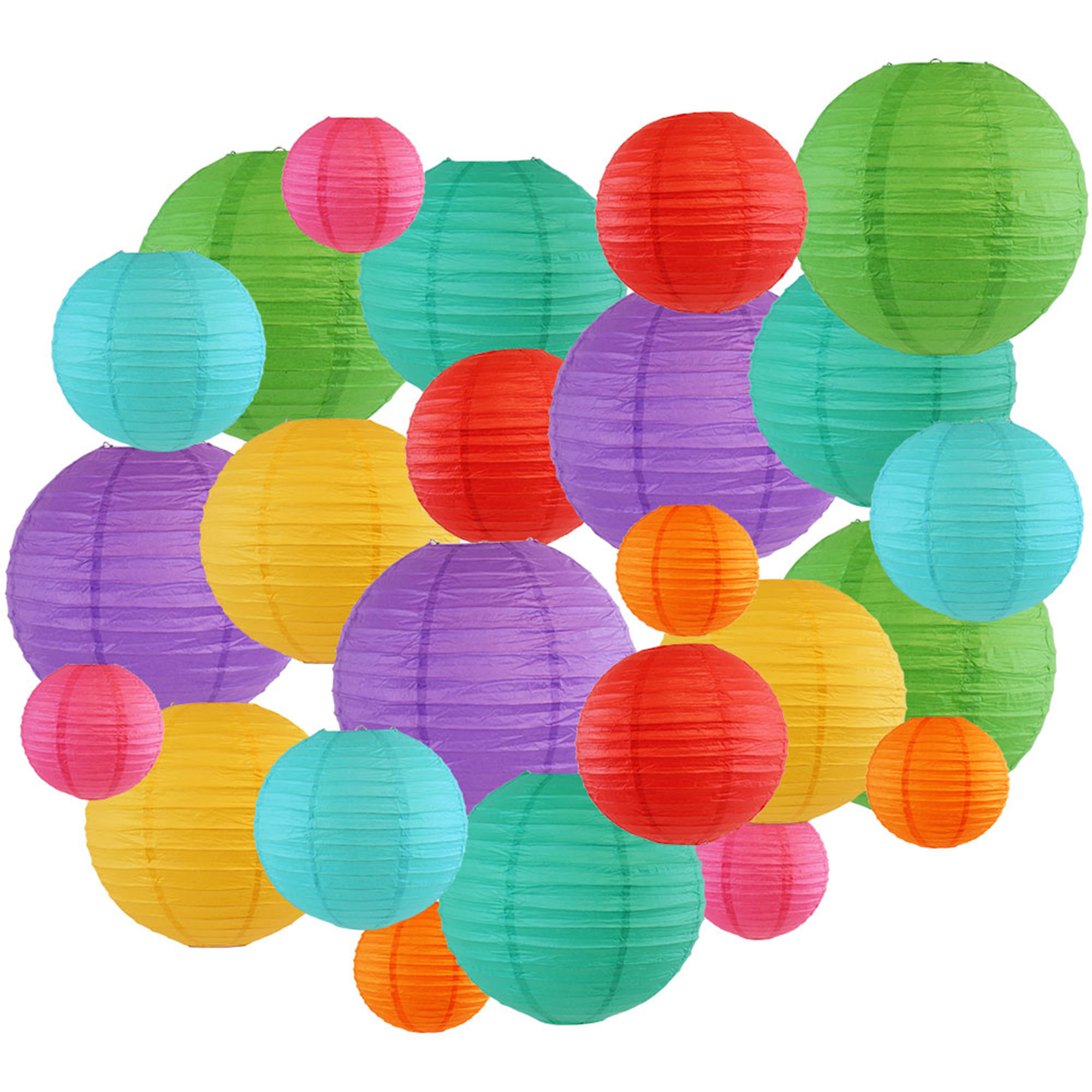 Just Artifacts Decorative Round Chinese Paper Lanterns 24pcs Assorted Sizes & Colors (Color: Tropical 2)