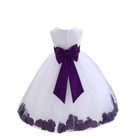 Ekidsbridal Wedding Pageant Rose Petals White Tulle Flower Girl Dress Toddler Junior Bridesmaid Recital Easter Holiday Gown Birthday Girl Dress 302T Purple 6-9 (Flower Girl Petals)