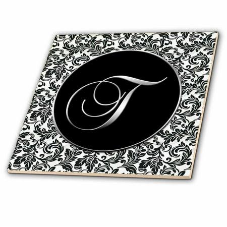 Ceramic Letter Tiles - 3dRose Letter T - Black and White Damask - Ceramic Tile, 4-inch