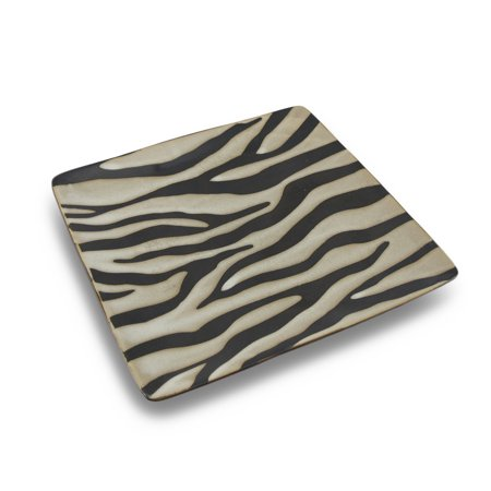 Beige and Black Zebra Striped Square Decorative Ceramic Dinner Plate
