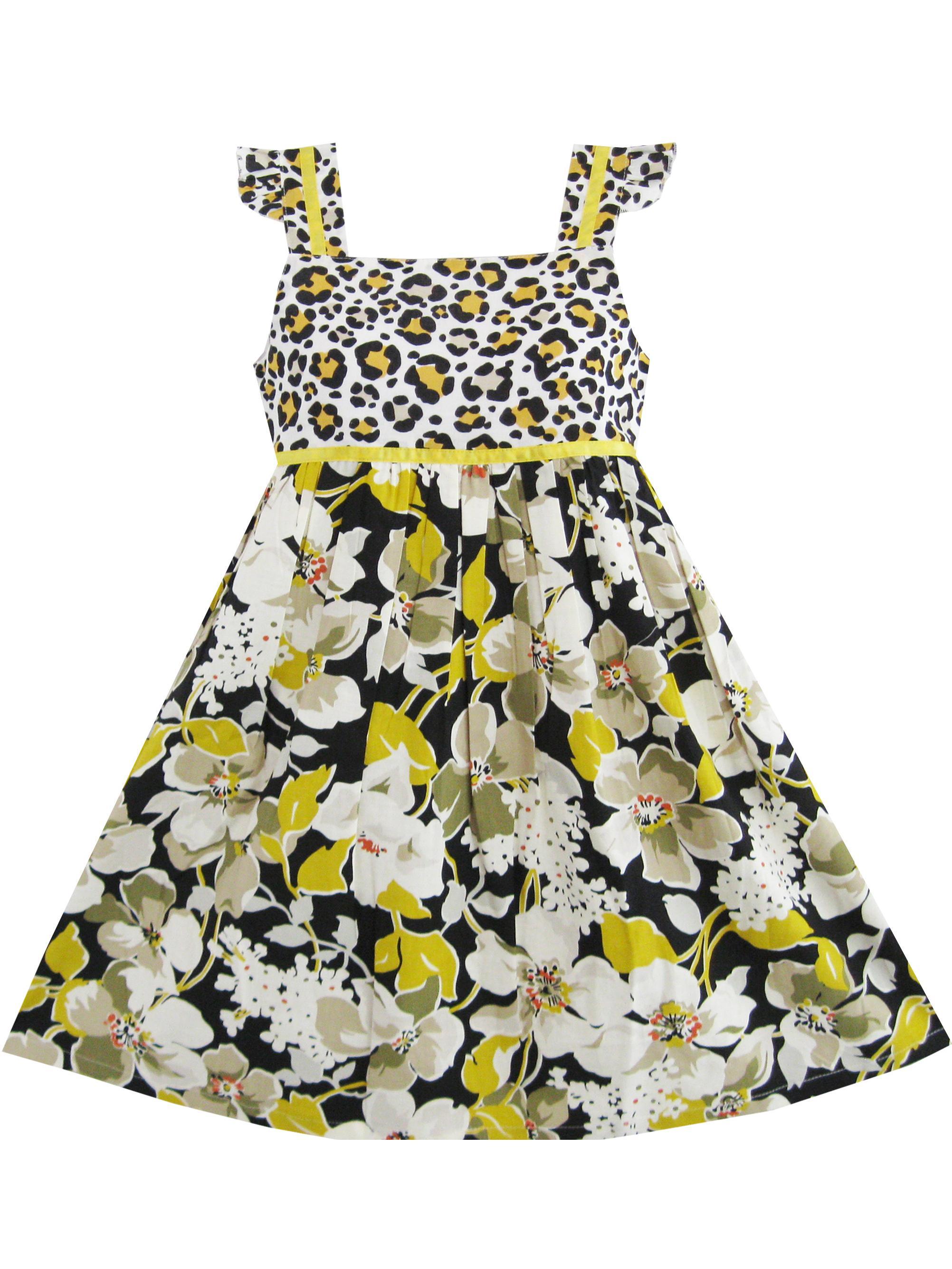 Girls Dress Flower Black Leopard Print Tank School Uniform Kids 3