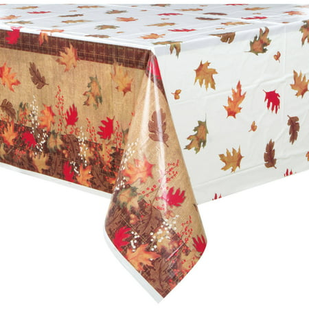 Plastic Rustic Autumn Leaves Fall Table Cover  84  X 54