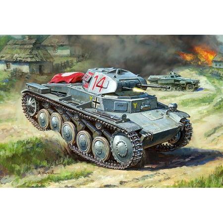 Zvezda Models 1/100 German Panzer II (Snap Kit) - image 2 de 2