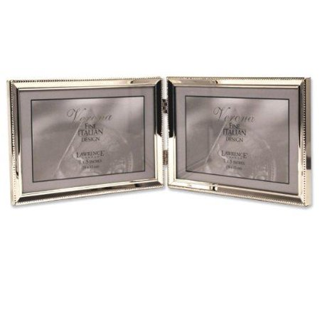 Lawrence Frames Polished Silver Plate 5x7 Hinged Double Horizontal