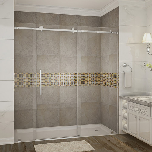 Aston Moselle 75'' x 72'' Single Sliding Completely Frameless Shower Door