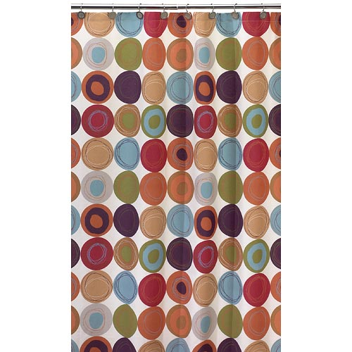 Dot Swirl 13 Piece Shower Curtain With Bonus Coordinating Hooks Set, Multi  Colors