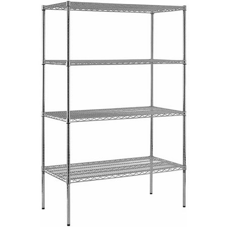 "Muscle Rack 48""W x 86""H x 24""D, Heavy Duty Steel Adjustable Wire Shelving, 800 lb Capacity, 4 Shelves, Chrome"
