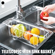 Retractable Drain Rack Adjustable Stainless Steel Over The Sink Dish Rack Stainless Steel Drain Basket Kitchen Sink Drain Rack Fruit and Vegetable Storage Basket Sink Dish Rack
