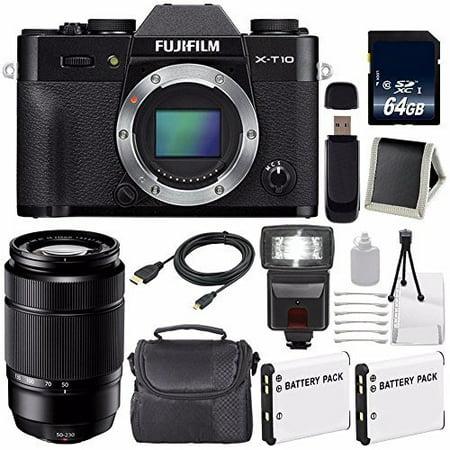 Fujifilm X-T10 Mirrorless Digital Camera (Black Body Only) (International Model) No Warranty + Fujifilm XC 50-230mm f/4.5-6.7 OIS Lens (Black) (International Model) No Warranty + Battery