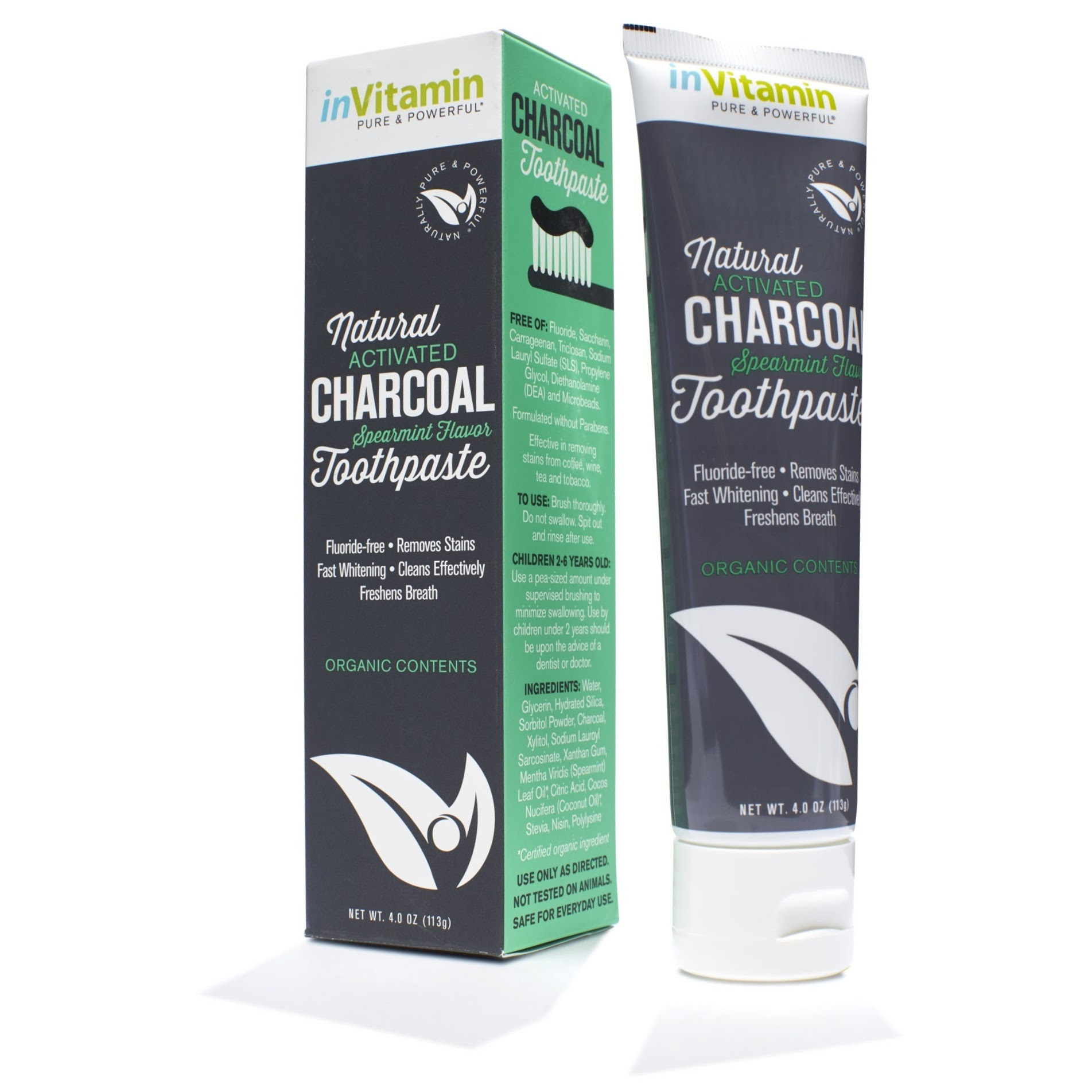 Natural Whitening Activated Charcoal Toothpaste Spearmint