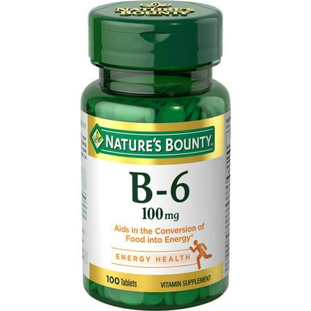Nature's Bounty B-6, 100mg Tablets, 100ct (Vitamin B6 P5p)