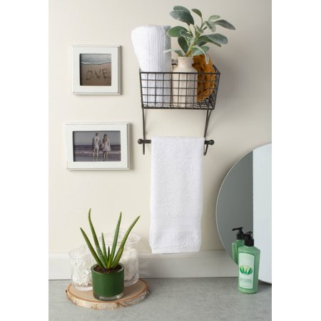 Home Traditions Rustic Metal Wall Mount Shelf with Towel Bar, Small - Gray