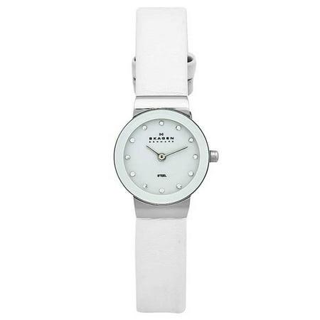 Swarovski White Leather - Skagen 358XSSLWW Women's Denmark White Dial Leather Strap Swarovski Crystal Watch