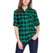 Women's Button Closure Long Sleeve Check Boyfriend Shirt