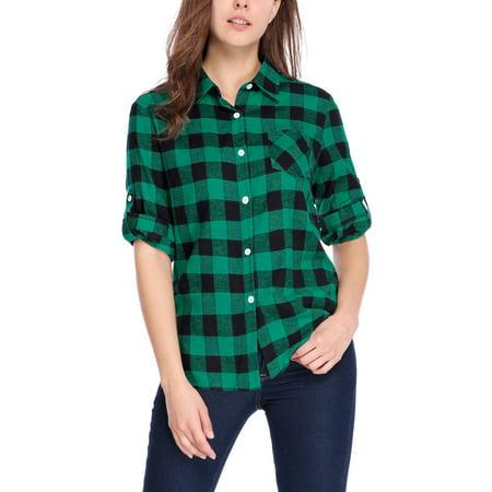 Exploded Check Shirt (Women's Button Closure Long Sleeve Check Boyfriend)