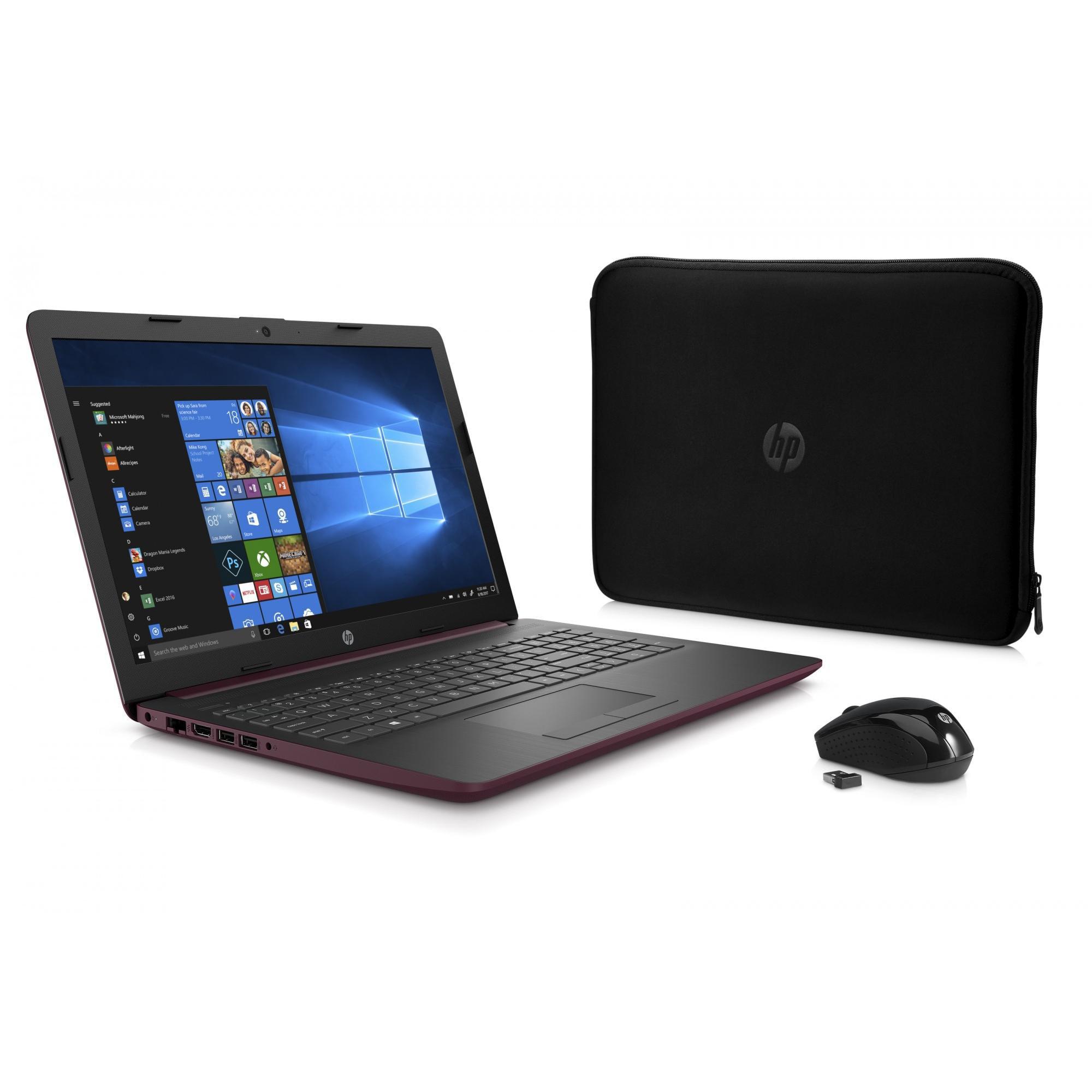 "HP 15 Laptop Bundle 15.6"" , AMD Dual-Core E2-9000e, 500GB HDD, 4GB SDRAM, Windows 10, Wireless Mouse X3000, Neoprene Sleeve - Twilight Blue - 15-db0081wm"