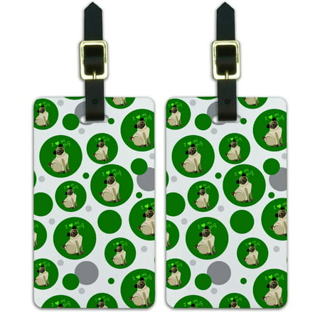 Graphics and More I Love Heart My Pug Standard Green Dog Pet Luggage Suitcase Carry-On ID Tags Set of 2