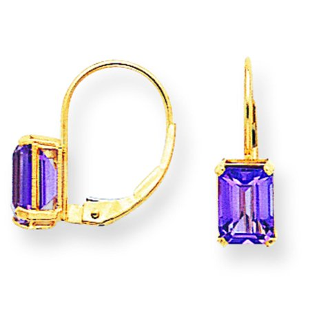 14k 7x5mm Emerald Cut Amethyst Leverback Earrings