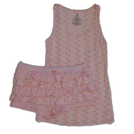 Valentines  Womens Pink Heart Rhumba Shorts & Tank Pajama Set Ruffle Pajamas - Valentines Pajamas