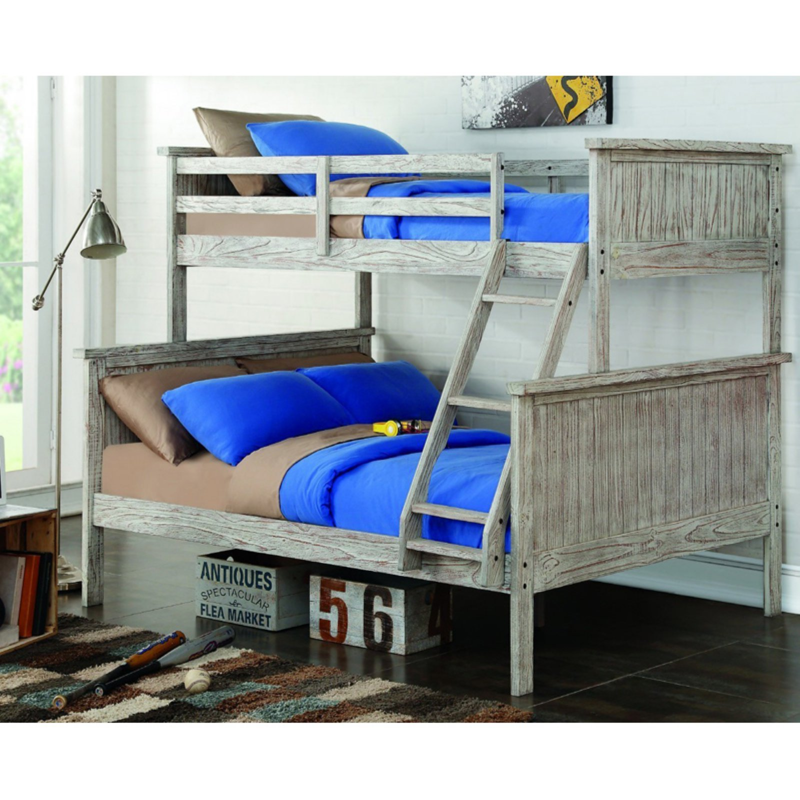 Donco Kids Twin over Full Panel Bunk Bed - Driftwood