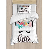 Quote Duvet Cover Set Twin Size, Illustration of Little Princess Quote with Colorful Unicorn Outline Fantastic Girly, 2 Piece Bedding Set with 1 Pillow Sham, Multicolor, by Ambesonne