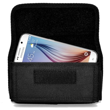 Heavy Duty Rugged Canvas Case with Hook and Loop Locking Clip Closure and Metal Clip on The Back Compatible with Huawei Mate 10 Lite Devices(Fits With Otterbox Defender,Commuter,LifeProof Cover On It) - image 6 of 9
