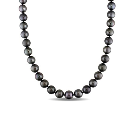 """Miabella 9-11MM Black Tahitian Cultured Pearl 14kt White Gold Graduated Strand Necklace, 18"""""""
