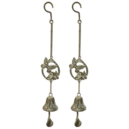 Manual Set Of 2 Erfly Shabby Chic Wrought Iron Bell Wind Noisemakers Imwcbb 23