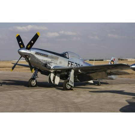 A P-51 Mustang parked on the ramp at Arlington Texas Stretched Canvas - Rob EdgcumbeStocktrek Images (34 x - Halloween Arlington Texas