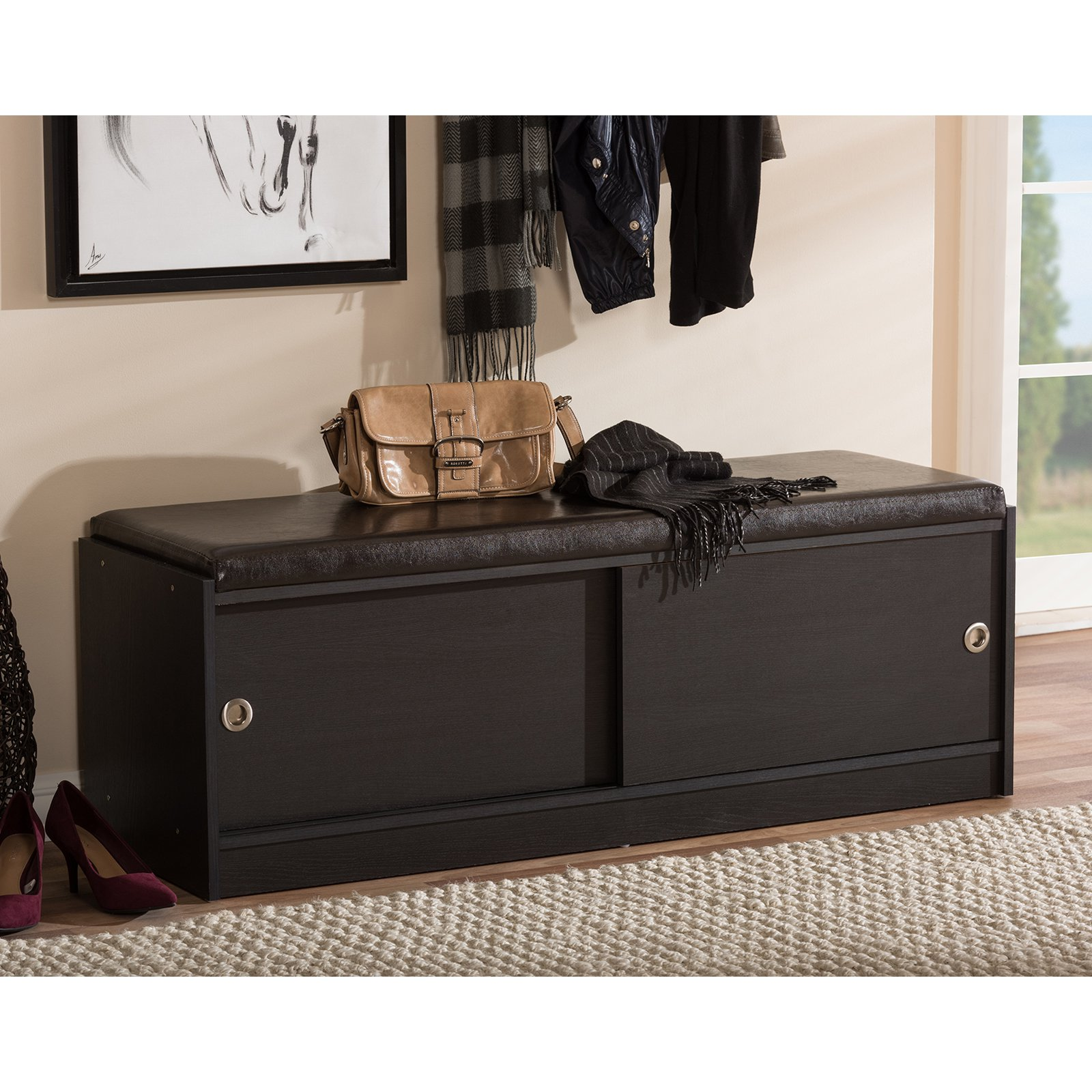 Baxton Studio Clevedon Dark Brown Wood Storage Bench Shoe Cabinet
