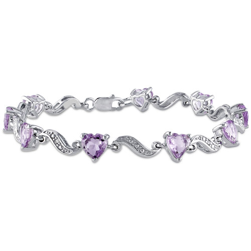 5 Carat T.G.W. Amethyst and Diamond Accent Sterling Silver Heart Bracelet, 7""
