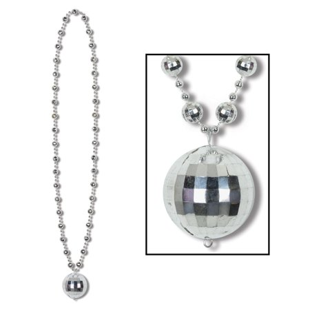 Club Pack of 12 Metallic Silver Disco Ball Mardi Gras Bead Necklaces 36