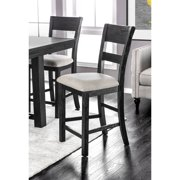 Furniture of America  Herr Rustic Black Fabric Counter Chairs (Set of 2)