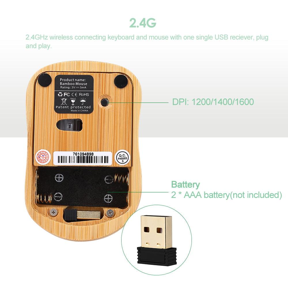 WPCBAA Handmade Bamboo Wood Making USB Wired Keyboard Splash-Proof Design Mute Silent Home Office Game Typing