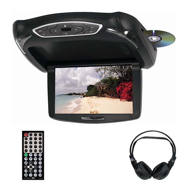 "Tview 10.2"" TFT LCD Flip Down Monitor DVD Headphones Remote USB/SD Interchangeable Skins"