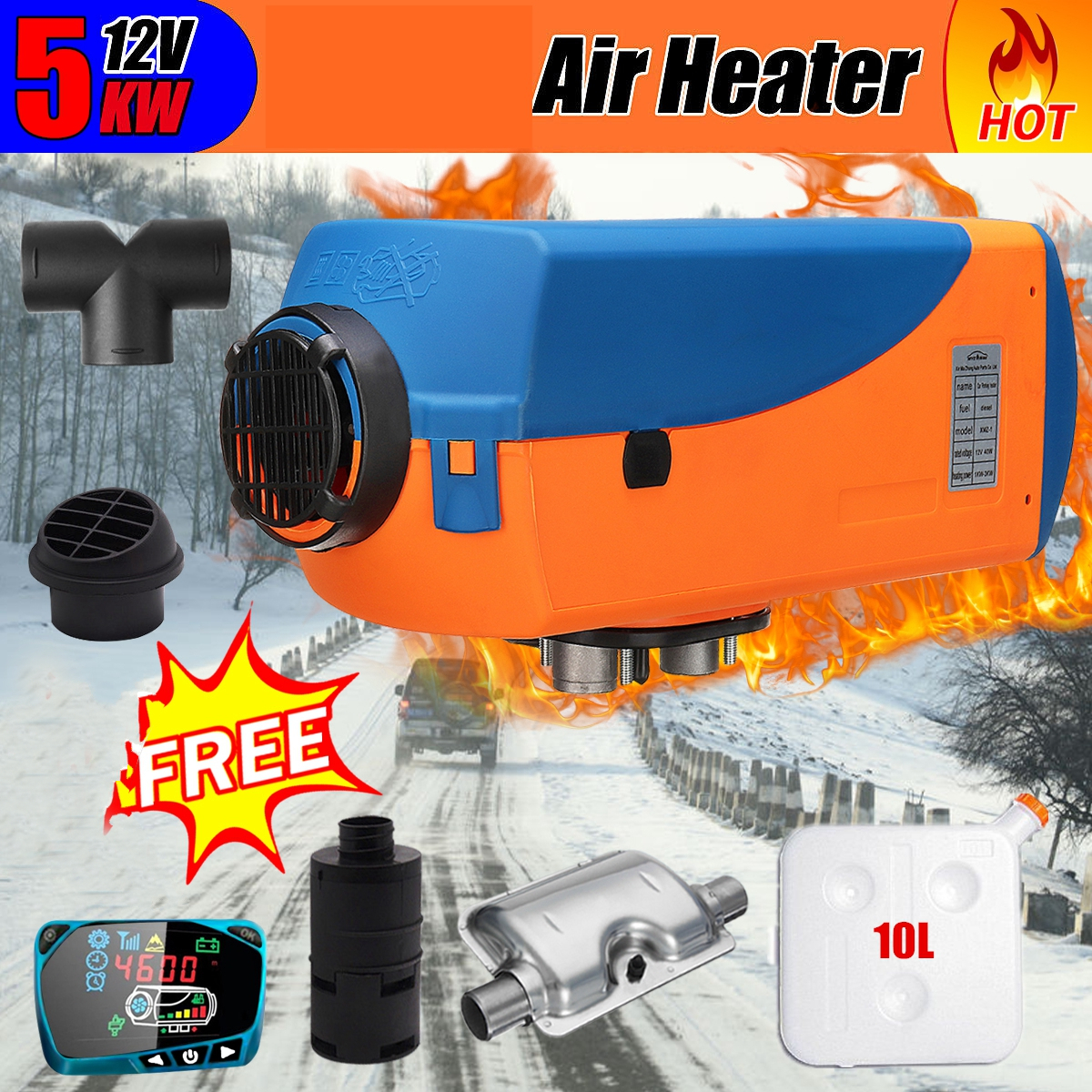 12V 5KW Car Heater Air Diese l Heater Car Warmer Heating Machine with Digital Switch For Trailer Motorhome Truck Boat Bus