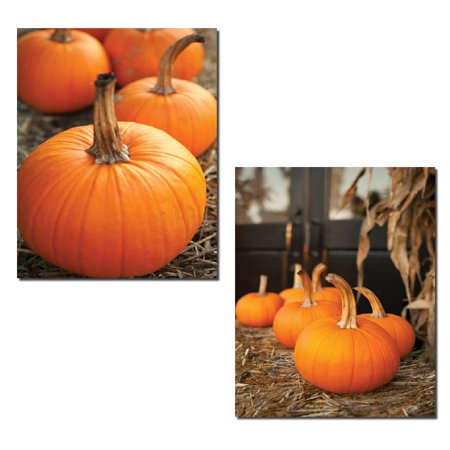 Rustic Country Seasonal Fall Pumpkins and Hay Set; Two 11x14in Poster Prints