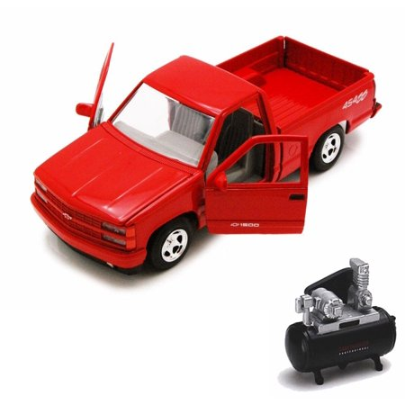 (Diecast Car & Air Compressor Package - 1992 Chevy 454SS Pick Up Truck, Red - Showcasts 73203 - 1/24 Scale Diecast Model Car w/Air Compressor)