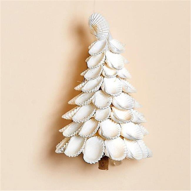 Harvest of Barnstable TREE3 White Sea Shell Tree Ornaments, Set of 3