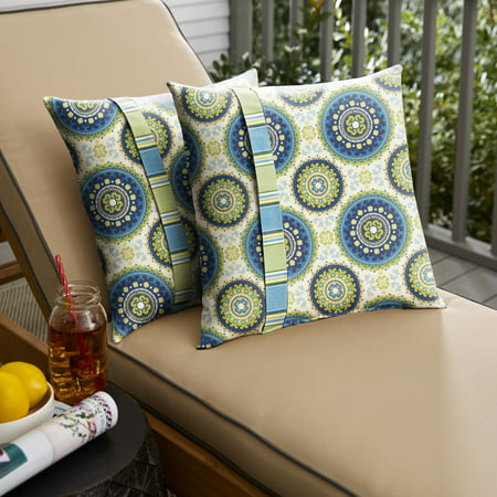 Humble and Haute  Blue and Green Suzani Knife Edge Indoor/ Outdoor Pillows, Set of 2