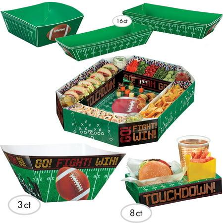 Football Super Bowl Gameday Food Snack Stadium 20pc Party Pack, Green Black - Football Snack Stadium