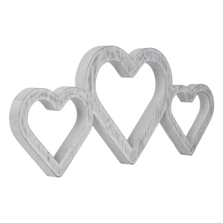 Large White Triple Heart Wood Cut Out Word Wall Decor