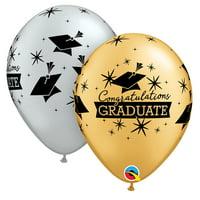 """Congratulations Grad Cap Graduation 11"""" Latex Balloons, Silver Gold Black, 12 CT"""