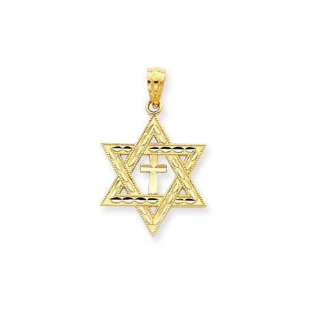 Love Star Of David Pendant - 14k Yellow Gold Jewish Jewelry Star Of David Cross Religious Pendant Charm Necklace Judaica For Women