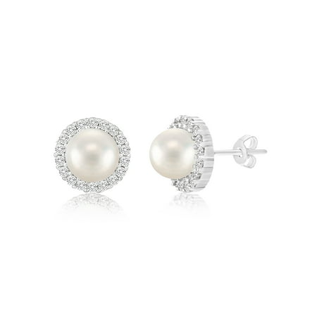 Cubic Zirconia and Pearl Sterling Silver Post Earrings