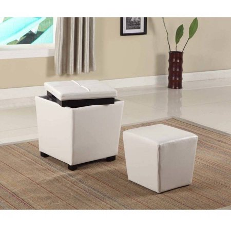 Roundhill 2-in-1 Storage Ottoman with Stool, Multiple Colors