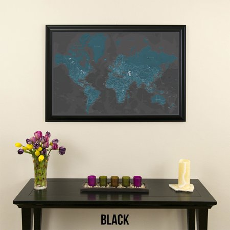 Midnight Dream World Push Pin Travel Map with Black Frame - Walmart.com