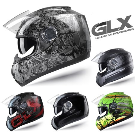 GLX DOT Full Face Motorcycle Street Bike Helmet Clear Smoked Tinted Visor (Red, Medium)