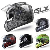 GLX DOT Full Face Motorcycle Street Bike Helmet Clear Smoked Tinted Visor (Red, Medium)